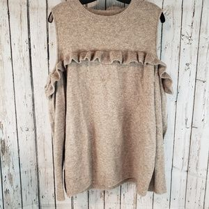 Loft tan brown cold shoulder long Sleeve top 0A
